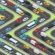 Urban Cars Seamless Texture. Isometric Roads and