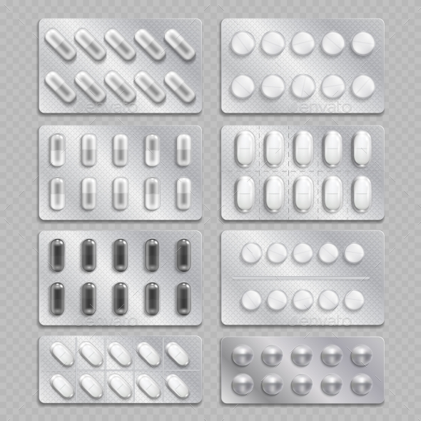 Realistic 3d Drugs Packaging, Painkiller Pills - Objects Vectors