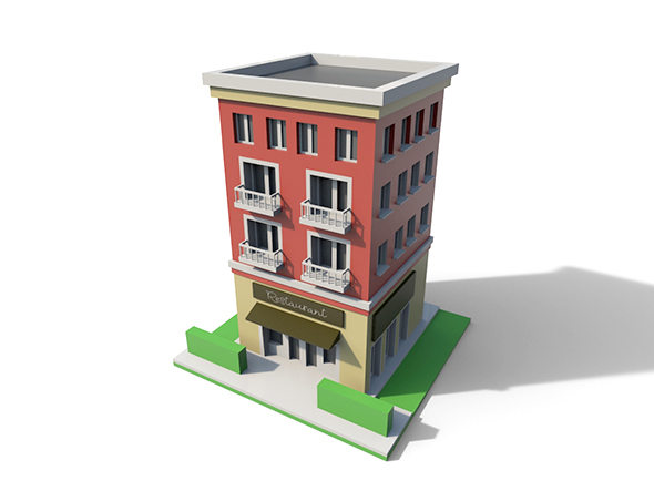 Low Poly Cartoon Building - 3DOcean Item for Sale