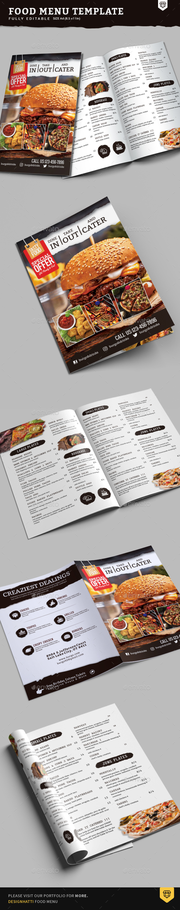 GraphicRiver A4 Bi-Fold Food Menu Template 20823707