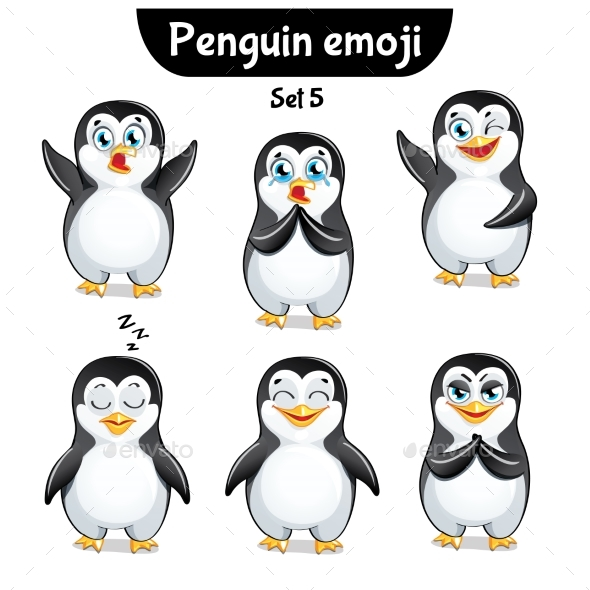 GraphicRiver Vector Set of Penguin Characters Set 5 20823708