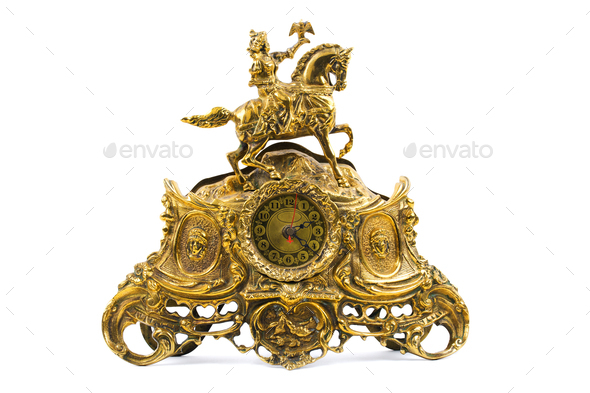 Old golden clock  - Stock Photo - Images
