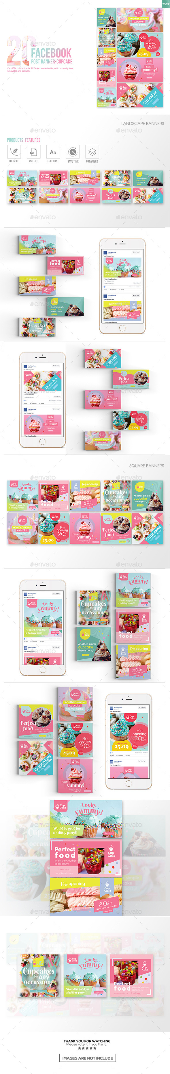 20 Facebook Post Banner - Cupcake - Miscellaneous Social Media