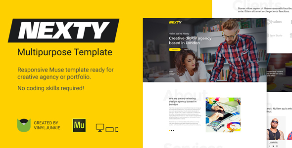ThemeForest Nexty Creative Multipurpose Portfolio Agency Responsive Muse Template 20824214