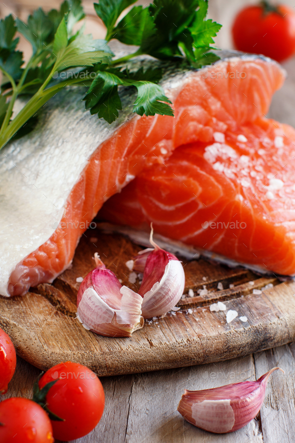 Fresh raw salmon - Stock Photo - Images
