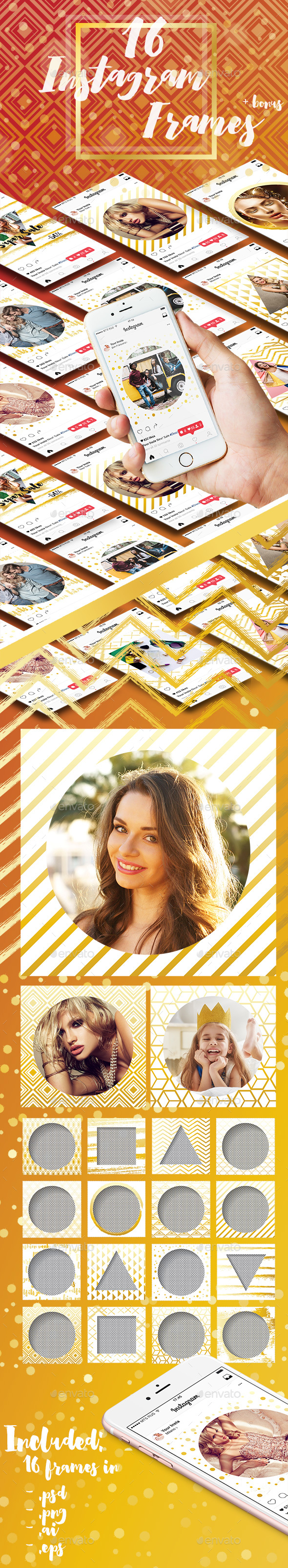 16 Instagram Template in Gold Color - Miscellaneous Social Media