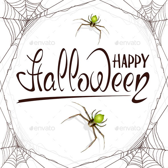 Text Happy Halloween in Spiderweb - Halloween Seasons/Holidays