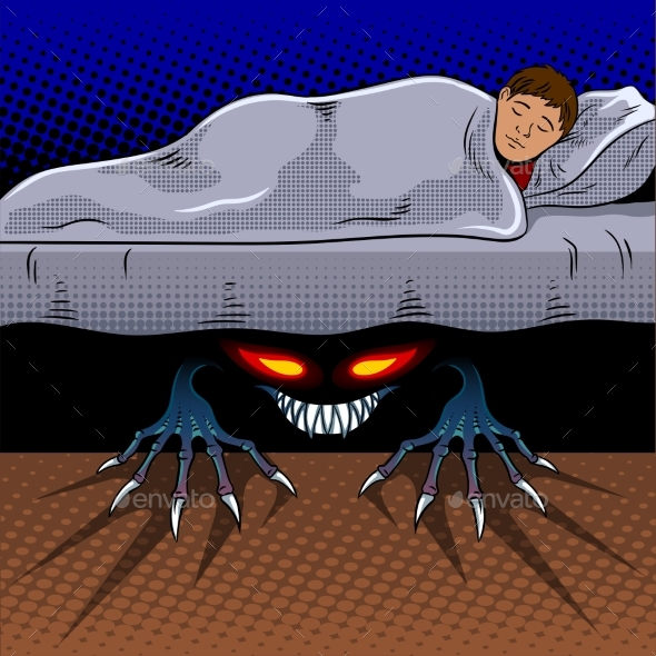 GraphicRiver Child with Monster Under the Bed Pop Art Vector 20824351