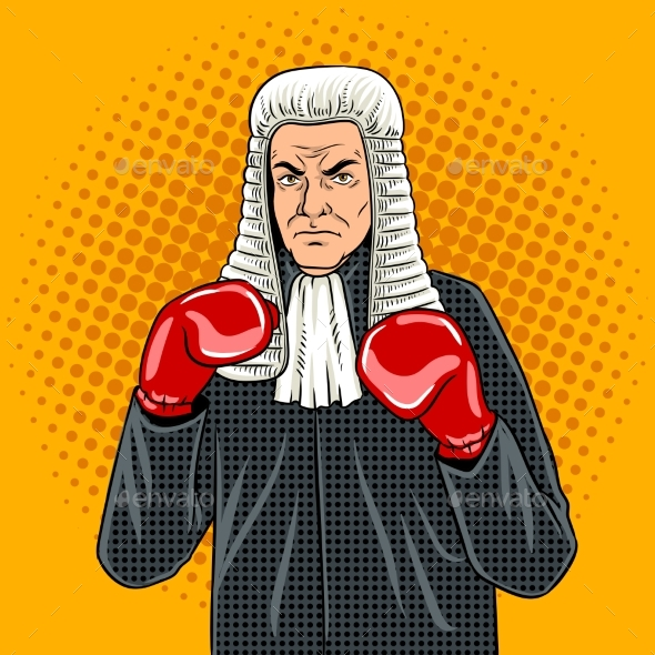 GraphicRiver Judge with Boxing Gloves Pop Art Vector 20824363