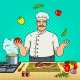 Chef Juggles with Vegetables Pop Art Vector