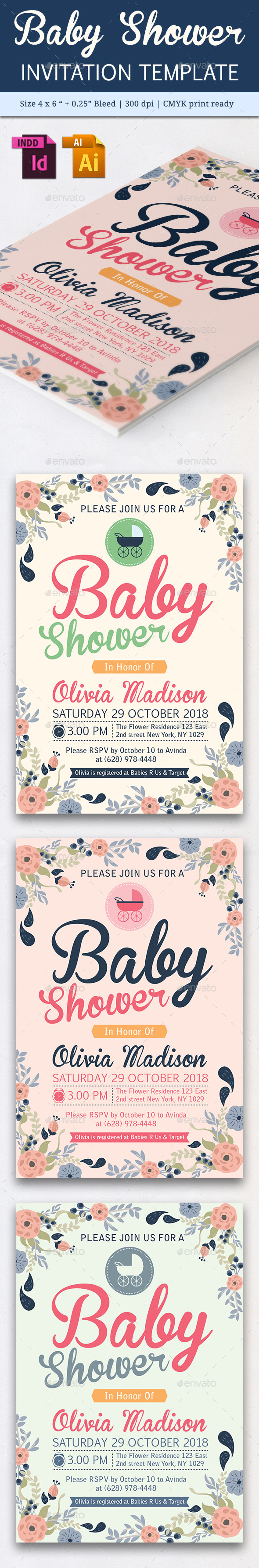 Baby Shower Template - Vol. 17 - Cards & Invites Print Templates
