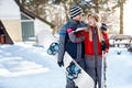 Skiers couple in love going to ski terrain
