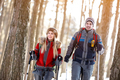 Couple hiking in winter on mountain