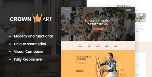 ThemeForest Crown Art Arts School WordPress Theme 20824708