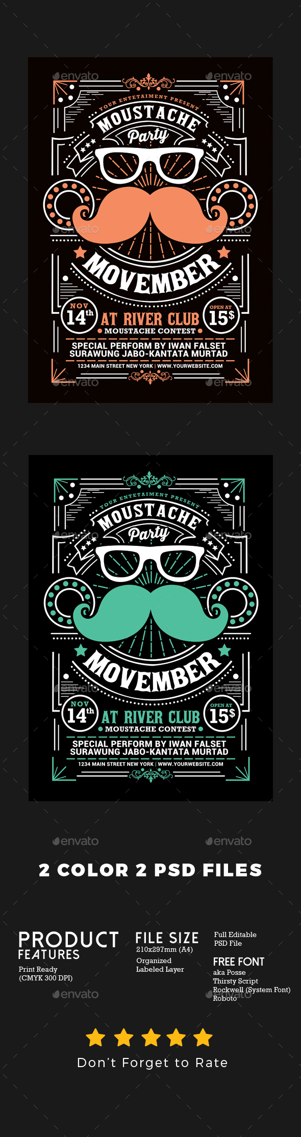 Movember Moustache Party Flyer - Events Flyers
