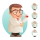 Scientist with Test-Tube Icon Retro 3D Cartoon
