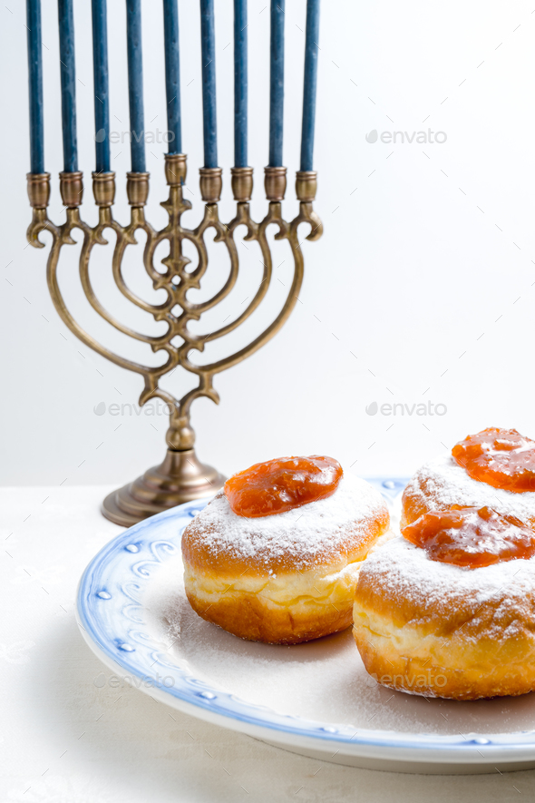 Hanukkah Minor, donuts with jam on a plate close-up - Stock Photo - Images
