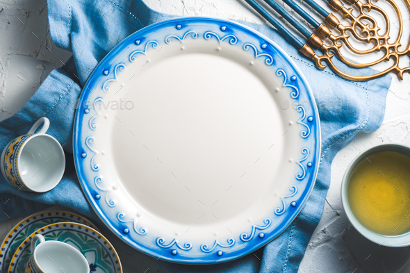 Preparing for the Jewish holiday of Hanukkah free space - Stock Photo - Images