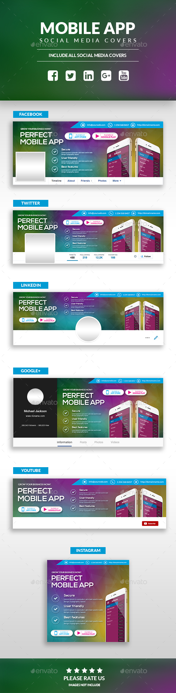 Mobile App - Social Media Cover Pages Kit - Social Media Web Elements