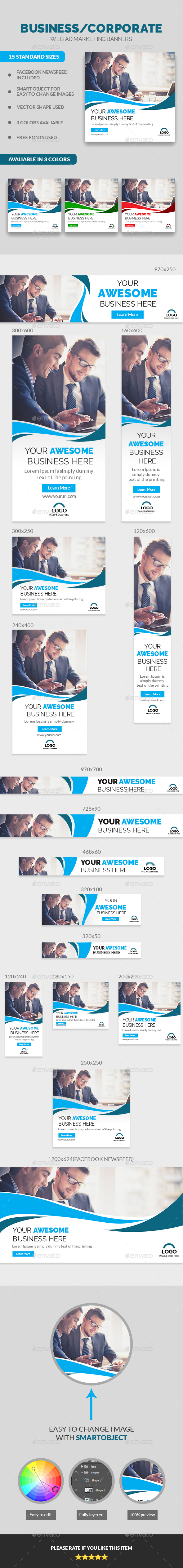 Multipurpose Corporate Business Banners - Banners & Ads Web Elements