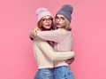 Fashion. Young Hipster Woman Having Fun. Hugging
