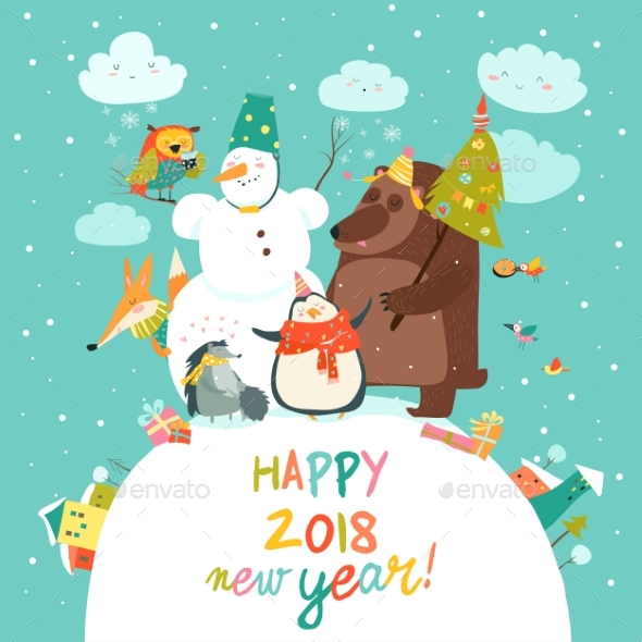 GraphicRiver Happy Animals Celebrating Christmas 20825116