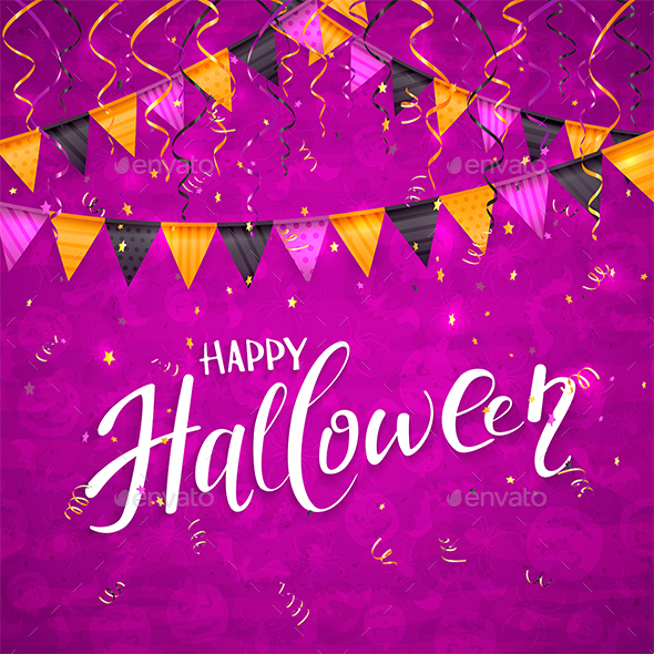 Purple Halloween Background with Pennants and Streamers - Halloween Seasons/Holidays