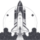 Space Shuttle with Carrier Rockets Launch Vector