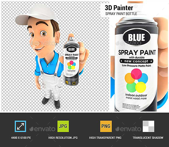 3D Painter Holding Spray Paint Bottle - Characters 3D Renders