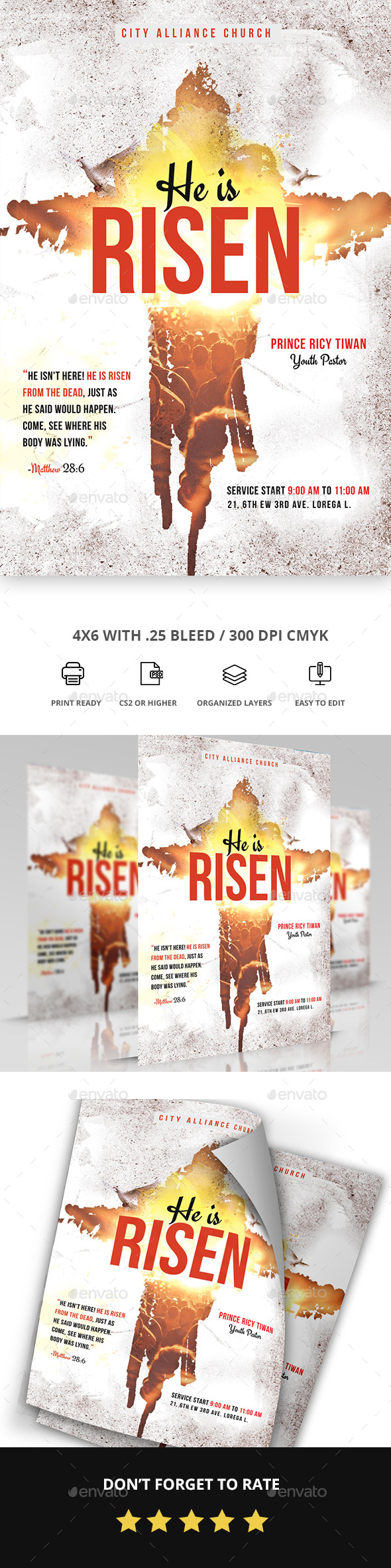 GraphicRiver Risen Church Flyer 20825304