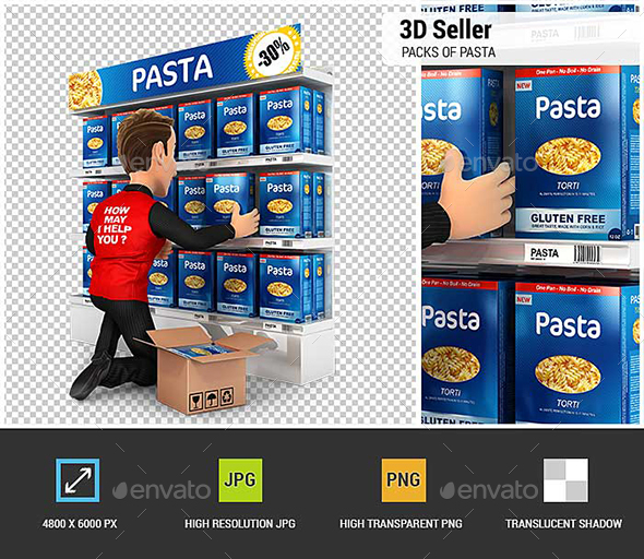 3D Seller Arranging Packs of Pasta in Supermarket Shelve - Characters 3D Renders