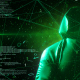 Anonymous Hacker In Hoodie Green Digital Source Code Computer Space