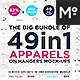 Big Bundle of Apparels on Hangers Mock-ups