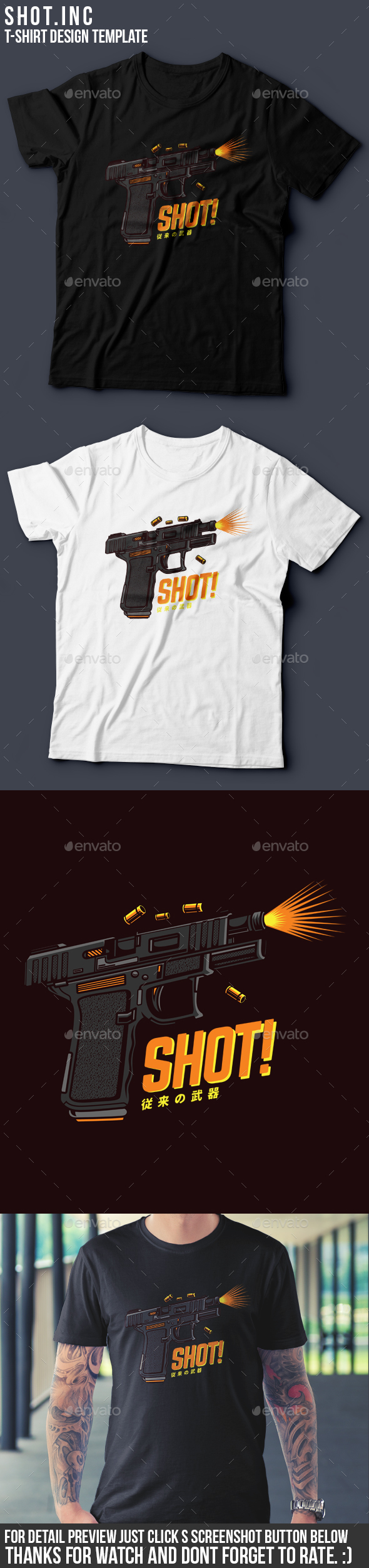 Shot! T-Shirt Design - Grunge Designs