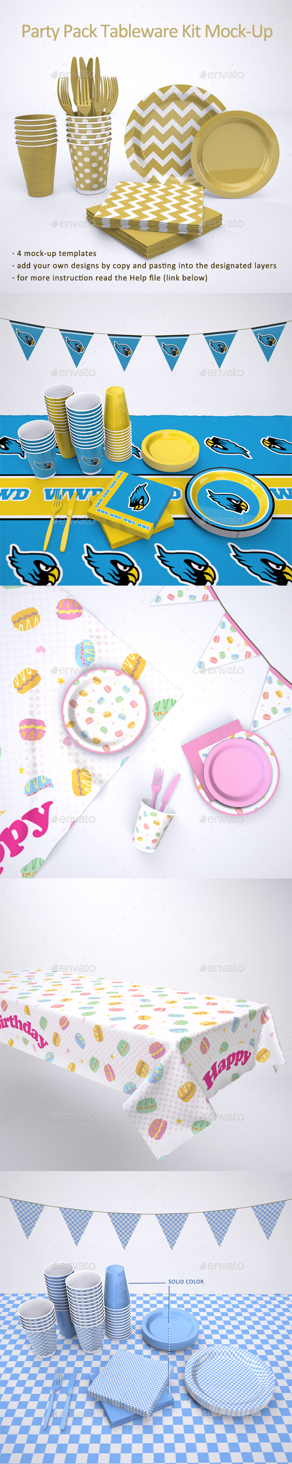 Party Supplies Pack Tableware Kit Mock-Up - Food and Drink Packaging