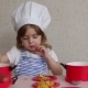 Portrait Adorable Little Girl in Chef Hat Cook Food - VideoHive Item for Sale