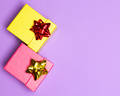 Gift boxes decorated with wrap bows with copy space