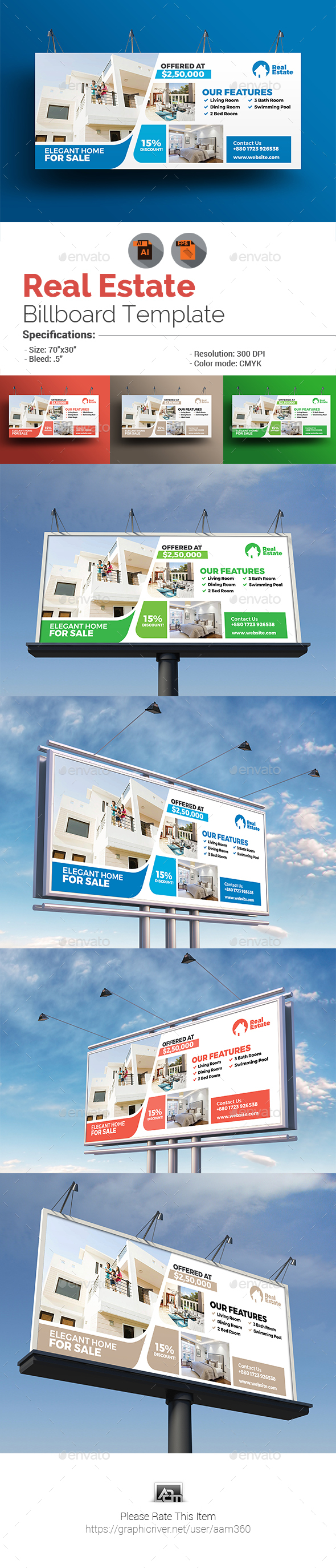 Real Estate Billboard Template - Signage Print Templates