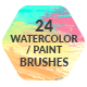 24 Watercolor Paint Photoshop Brushes