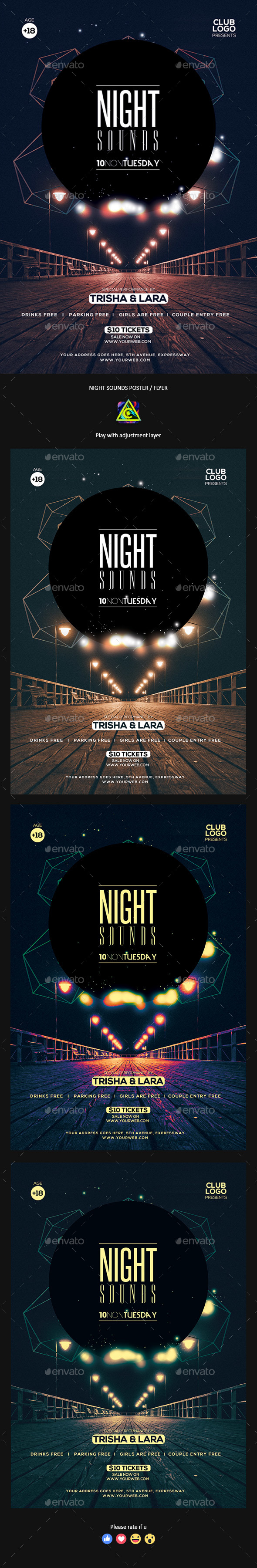 Night Sounds Poster / Flyer - Clubs & Parties Events