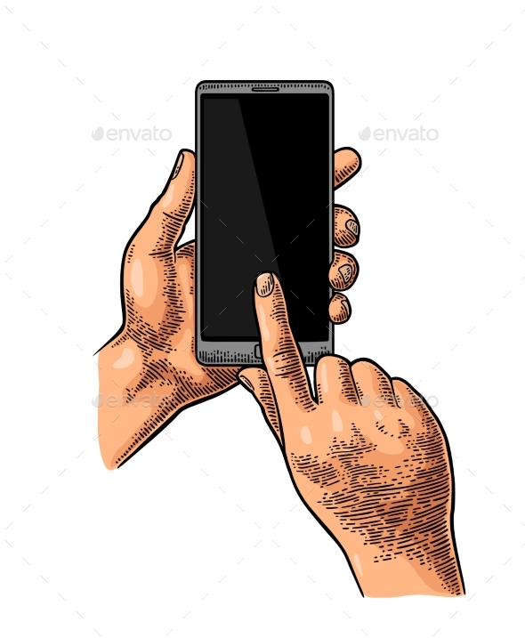 GraphicRiver Hands Holding and Touching a Large Mobile Phone 20826760