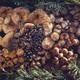 Collection of edible mushrooms in a wooden box - PhotoDune Item for Sale