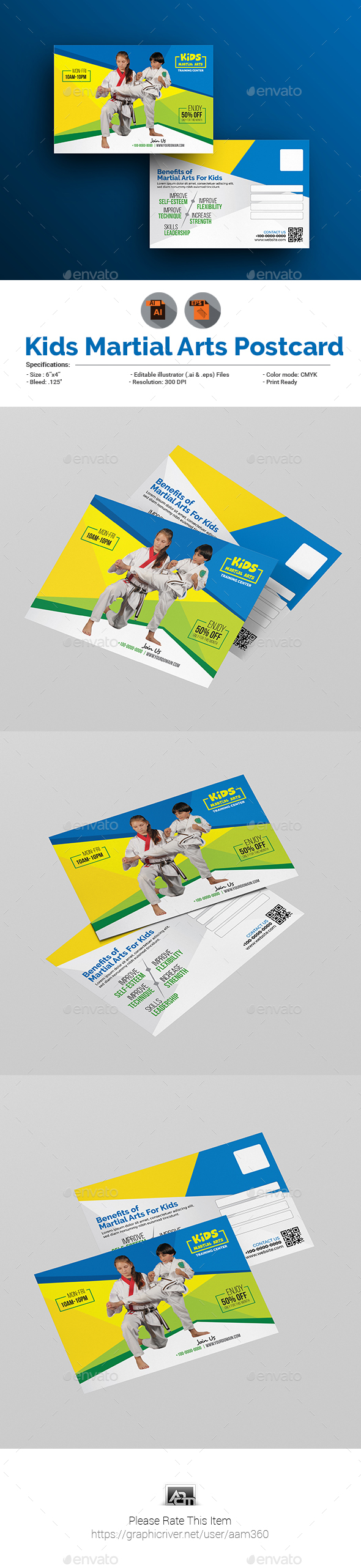 GraphicRiver Kids Martial Arts Training Center Postcard Template 20826949