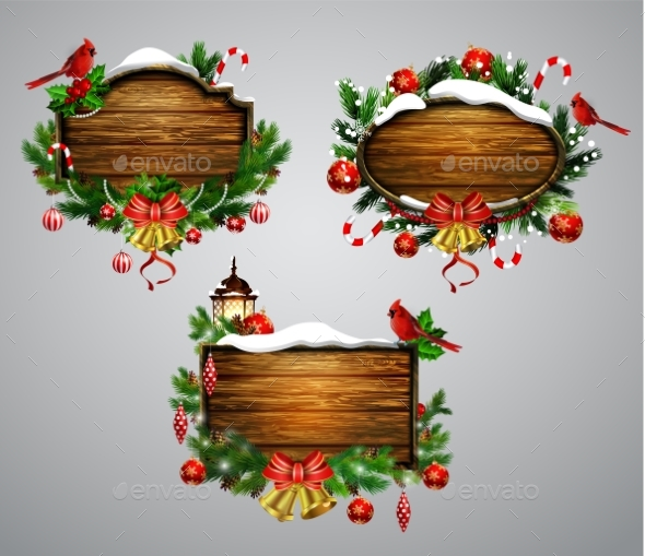 GraphicRiver Vector Wooden Christmas Board 20827083