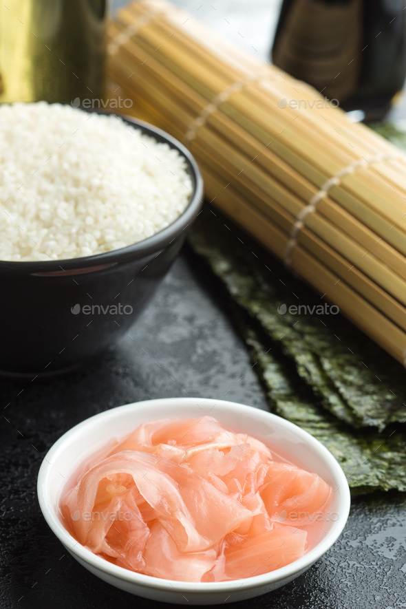 Pickled sushi ginger slices. - Stock Photo - Images