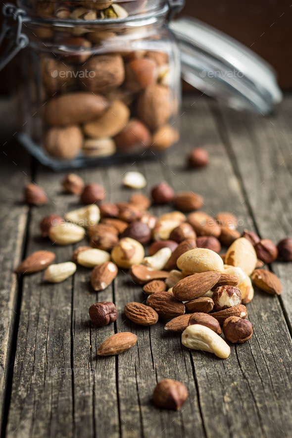 Different types of nuts. - Stock Photo - Images