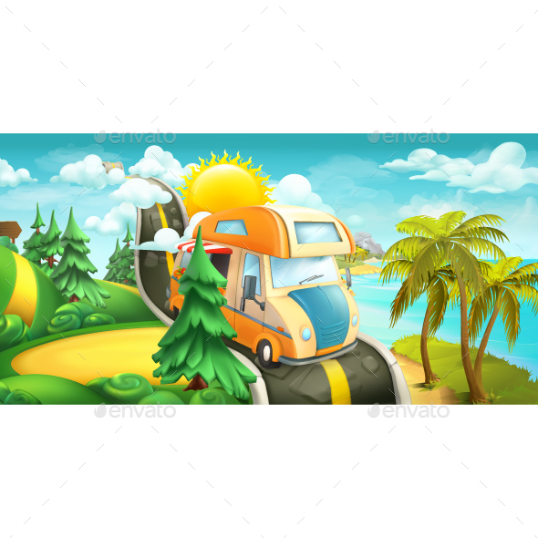 GraphicRiver Road To Clouds Sea And Forest 20827297