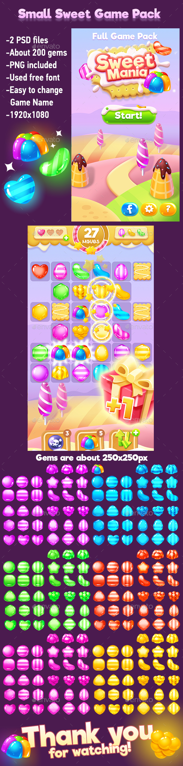 Small Sweets Game Pack with Game Gems - Game Kits Game Assets