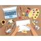 Vector Illustration of Artist's Workplace