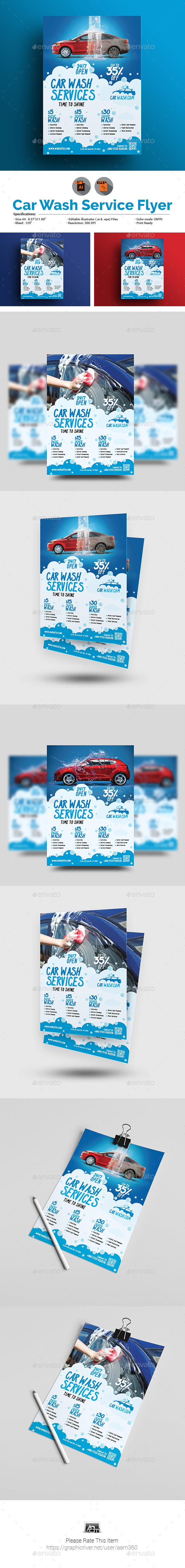 GraphicRiver Car Wash Flyer 20827429